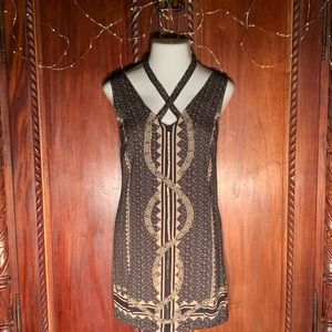 NWT Free People Black & Gold Beaded Dress Med.